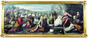Peritos do Museu de Arte Antiga analisam, no Mosteiro de Singeverga, tela atribuida aTintoretto