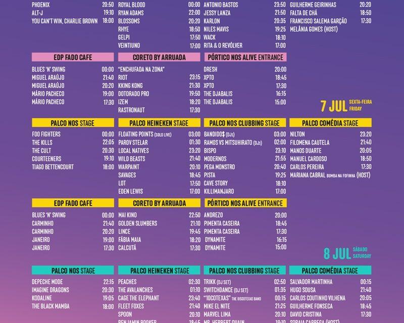 Festival NOS Alive'17 – HORÁRIOS