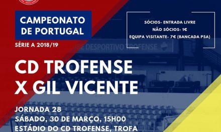 Trofense joga este sábado com o Gil Vicente