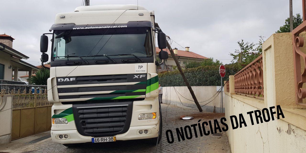 Camião arranca postes e danifica carros