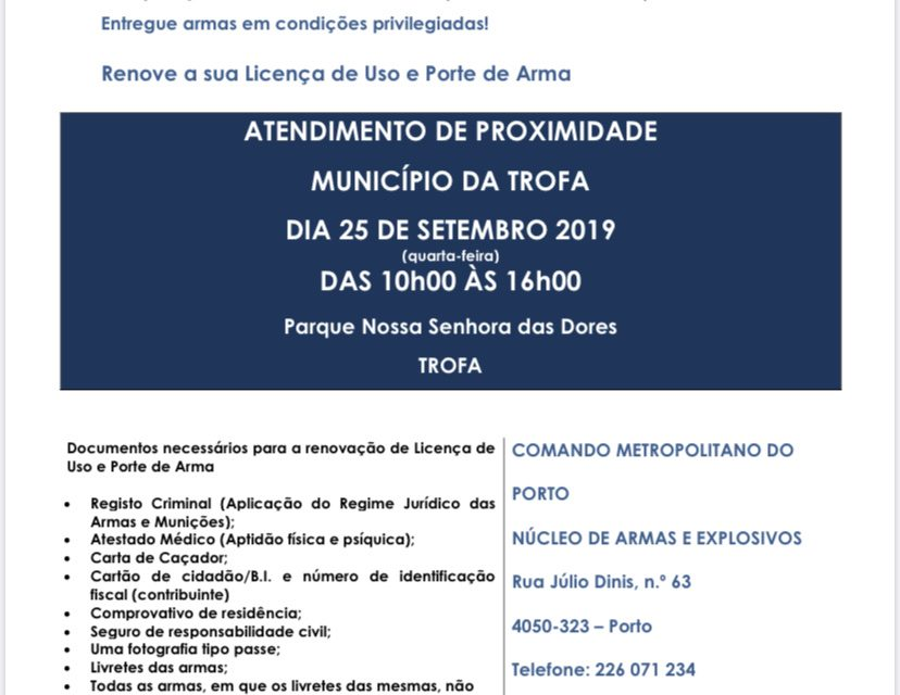 Ação de atendimento de proximidade sobre licenciamento de armas de acordo com nova legislação na Trofa  25 setembro 2019